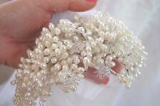 Amazing Vtg Blusher Pearl Beaded/Glass Starbursts Head Piece Wedding Veil White