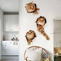 3D Cat Wall Sticker Hole View Home Living Room Decor Decal DIY poster Sticker