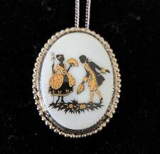 Vintage Victorian Lovers Gentleman & Lady Romantic Cameo Pendant Necklace