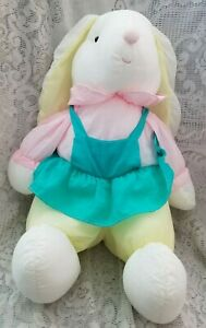 "Puffalump Girl Bunny Rabbit Plush 14"" Green Jumper Dress Pink Shirt"