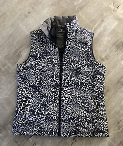 Lands End  🌼 Size Small 6-8 Down Vest Pink Puffer Zip up Blue/white NWT