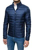 Giubbotto piumino uomo 100 grammi blu slim fit casual giacca bomber impermeabile
