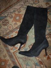 Russell & bromley Black Stretch Real Suede Knee High Boots Sz 39.5, UK 6.5