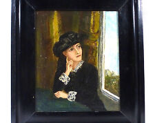 Fin Tableau dans le cadre Femme Portrait 19 Siècle Liquidation de collection