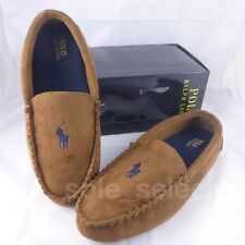 Polo Ralph Lauren Moccasin Slippers Brown with Navy Pony Size 10 DS BNIB