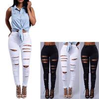 Womens Mid Waisted Skinny Hole Denim Jeans Stretch Slim Pants Calf Length Jeans