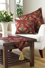 """SUPERB QUALITY TRADITIONAL TAPESTRY   BURGUNDY & TAUPE TABLE RUNNER.  13"""" x 90"""""""