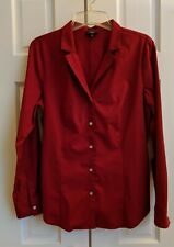 Red Talbot's button down wrinkle-resistant women's stretch cotton blouse, sz 12P