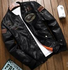 New Men Air Force Pilot Jacket Flight Embroidered Faux Leather Motorcycle Jacket