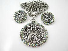 JUDY LEE Blue Rhinestone Necklace & Clip Earrings Set Aurora Borealis AB