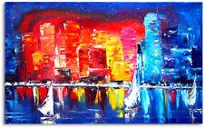 Skyline Stadt Neu Gemälde 50 x 80 Wandbild  Hochwertige Handarbeit  Nr.1399