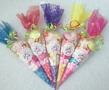 15 X Unicorn Themed Pre Filled Sweet Cones Personalised + Free Sweety Bag