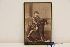 altes Foto Kind auf Schaukelpferd  Albumin R. Höfel Salzungen CDV