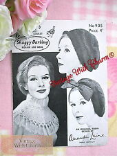 Vintage Knitting Pattern Lady's Hat, Beret & Tasseled Collar. 3 Styles In Mohair