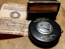 Vintage WARDS MASTER QUALITY Steel Tape Measure 50' Montgomery Ward Co. No.84