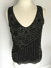 Jane Norman Ladies Black Beaded Sleeveless Top Size 10. New With Tags RRP £45.