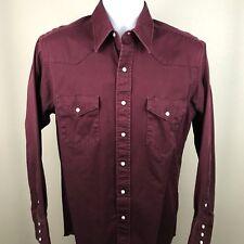 Vintage Wrangler Mens Denim Western Pearl Snap Shirt Maroon Size 15.5 - 34. A3