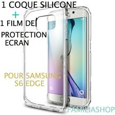Housse coque transparent gel silicone souple samsung galaxy S6 EDGE + 1 FILM