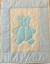 Green Yellow Teddy Bear Baby Quilt Handmade Patchwork Crib Comforter  NEW