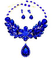 Rhinestone Necklace Earrings Blue Crystal Set