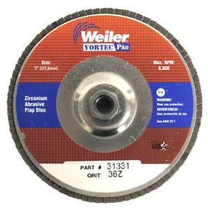 "Weiler Vortec Pro Abrasive Flap Discs, 7"", 36 Grit, 5/8 Arbor, 8,600 rpm, Alum B"