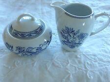Set Of Thun Blue Onion Creamer & Lidded Sugar Bowl Czech Republic