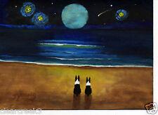 Boston Terrier Dog Beach Ocean Abstract Folk Art PRINT Todd Young MAGICAL NIGHT