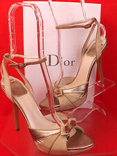 NIB CHRISTIAN DIOR TWO TONE LEATHER SUEDE CHARM BOW HEEL PUMPS SANDALS 39.5