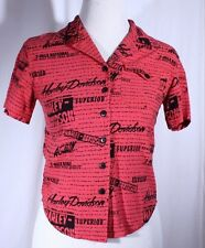 Harley-Davidson Size XS See Measurements Red Black Button Front Blouse Biker SS