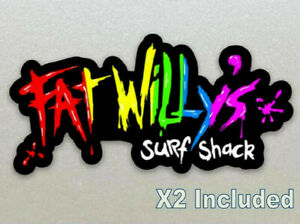 Fat Willy's Surf Shack (Newquay Cornwall) X 2 Included 10cm Stickers, Laminated