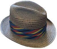 Stetson Size 7 1/8 Summer Straw Hat Lite Brown Straws w/ College Stripe Ribbon