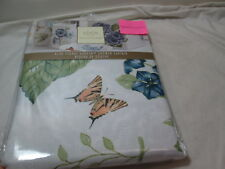 New Lenox BLUE FLORAL GARDEN Shower Curtain ~ Flowers and Butterfly Meadow NIP