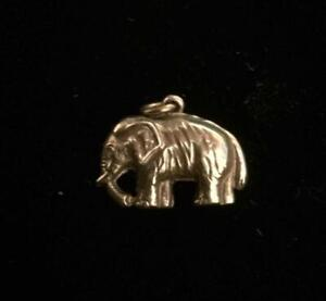 Vintage Gold Charm : ELEPHANT : Hallmarked 9ct (ref14)
