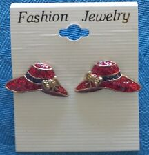 Gold Tone Post Earrings #1 Red Hat Society Red Hat Enamel
