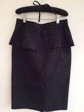 Knee Length Patternless Peplum Regular Size Skirts for Women