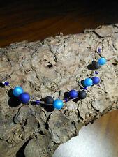 Neu unikat blau schwarz Halskette Collier Polaris perlen kette Polariskette hell