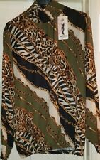 Ladies Ruffle Neck Animal & Chain Print Blouse Will Fit UK 8-14 Made in Italy