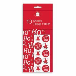 10 Sheets Red Ho Ho Snowflake Christmas Tissue Paper Gift Wrap & Seal Tabs GA106