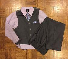 Boy's Nautica Vest Set Pants Shirt Vest Tie Gray Lilac (Size 7) Good Condition