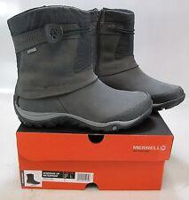 Merrell Women's Dewbrook Zip Waterproof Gray Leather Boots Size US 7.5 M, EU 38
