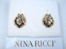 Swarovski Crystals & Nr Logo 0481 Nina Ricci Gold Plated Clip-on Earrings with