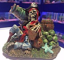 Esqueleto De Pirata permanece con barril Niños Peces Tanque Ornamento de acuario 752