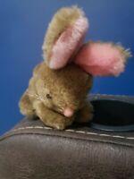 "Vintage Russ Berrie #232 Brown Pink BUNNY RABBIT 3.5"" Plush Stuffed Toy Korea"