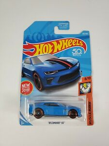 2018 Hot Wheels Blue 18 Camaro SS Muscle Mania 8/10 Ages 3+ NEW