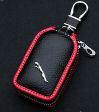 Cowhide leather Car Key shell Holder Keychain Ring Case Bag Fit For Jaguar Auto