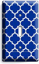 Geometric Blue White Arabic Pattern 1 Gang Light Switch Wall Plate Room Hd Decor