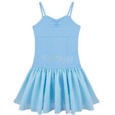 #8-10 Blue Girls Spaghetti Strap Gymnastic Ballet Dancer Leotard Dress Costume