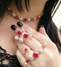 Indian Bollywood Necklace Fashion Jewelry AD Red Stone Earrings Gift Lady Pearl