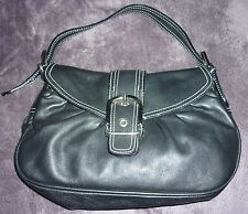 Dune Black Medium Leather Shoulder Clutch Bag Buckle Front Contrast Stitch