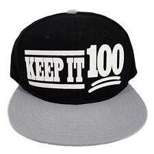 Keep It 100 Black/Grey Flock Snapback Cap